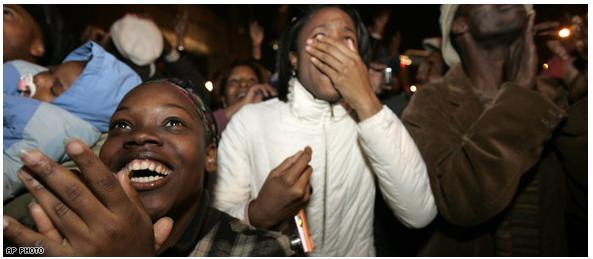 Kegembiraan warga kulit hitam